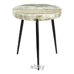 20 T Side Table Solid 2 Thick Marble Top Powder Coated Iron Base One of a Kind