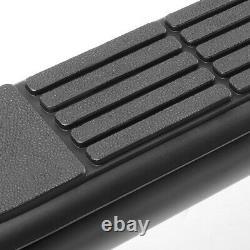 3 Black Running Board Round Side Step Bar for 07-19 Silverado Sierra Crew Cab