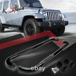 3 Black Running Board Round Side Step Nerf Bar for 07-18 Jeep Wrangler JK 4-Dr