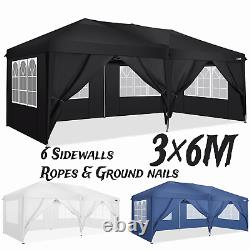 3x3M/3x6M Gazebo Heavy Duty Pop-up Waterproof Canopy Garden PartyTent withSides UK