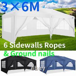 3x3M/3x6M Gazebo Pop-up Canopy Water & UV proof Tent withSides Garden Marketstall