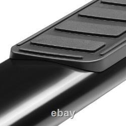 5 Black Running Board OVAL Side Step Bar for 99-14 Silverado/Sierra Crew Cab