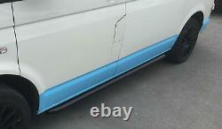Black Powder Coated OE Style Steel Side Bars for Volkswagen Transporter T6 LWB
