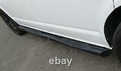 Black Powder Coated Steel Side Bars with Pads for Volkswagen Transporter T6 SWB
