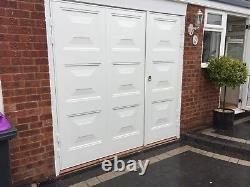 Fitted Georgian Style white side hinge garage door Inc Steel frame Powder Coated