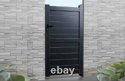 Flat Top Metal Pedestrian Side Gate with Horizontal Infill Aluminium