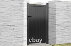 Flat Top Metal Pedestrian Side Gate with Vertical Infill Aluminium