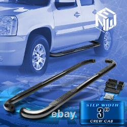 For 00-14 Avalanche Yukon Crew Cab 3 Black Curved Side Step Bar Running Boards