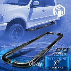 For 01-03 Ford F150 Crew Cab 3 Black Round Tubing Side Step Bar Running Boards