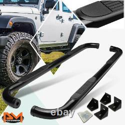 For 07-18 Jeep Wrangler JK/JKU 4-Dr 3 Side Step Nerf Bar Running Board Black