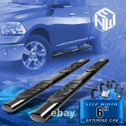 For 09-20 Ram Extended Cab 6 Black Coated Oval Tube Side Step Bar Running Board