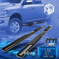 For 09-20 Ram Pickup Crew Cab 5 Coated Oval Tube Side Step Bar Running Boards