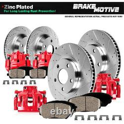 Front+Rear Brake Calipers Drilled Rotors Brake Pads For 2003 2006 2007 Accord
