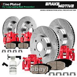 Front + Rear Red Brake Calipers And Rotors + Ceramic Pads For 2009 2017 Maxima