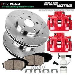 Front Red Brake Calipers And Rotors + Pads For Ford Explorer Flex Taurus MKS MKT