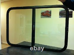Horsebox Window 36 x 24 Side Sliders Black Powder Coated