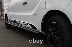 Lwb Black Side Bars Powder Coated Side Steps Pair For Vauxhall Vivaro 2001+