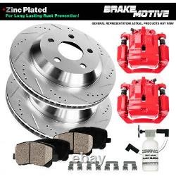 Rear Red Brake Calipers Rotors & Pads For 2003 2004 2005 2006 2007 JEEP LIBERTY