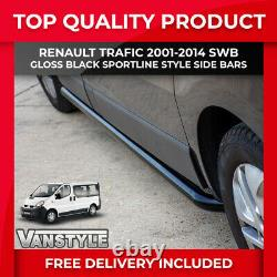 Renault Trafic 01-14 Black Sportline Side Bars Swb Steel Powder Coated Style