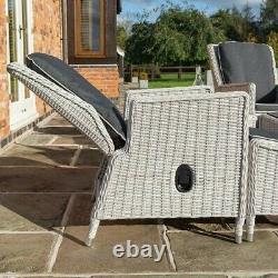 Rowlinson Prestbury 2 x Rattan Lounger Reclining Chair Set Side Table Garden