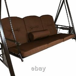 Sunnydaze 3-Person Steel Frame Outdoor Canopy Swing with Side Tables Brown