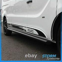 Swb Black Side Bars Powder Coated Side Steps Pair For Vauxhall Vivaro 2001+