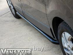 Vauxhall Vivaro 01-14 Black Sportline Side Bars Swb Steel Powder Coated Style